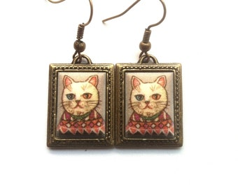 A Portrait of a Cat Cameo Earrings