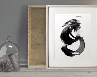 Abstract Wall Art, Brushstroke Art, Abstract print, black and white prints, black art, abstract decor, modern wall art, Printable art