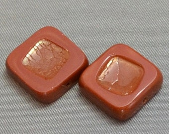 Terra Cotta Red Square Beads with Copper Finish center 14mm (2)