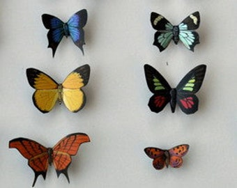 Butterfly Magnets Refrigerator Magnets Kitchen Magnets Home and Living Set of 12 Multi Color Insects Kitchen Decor Handmade