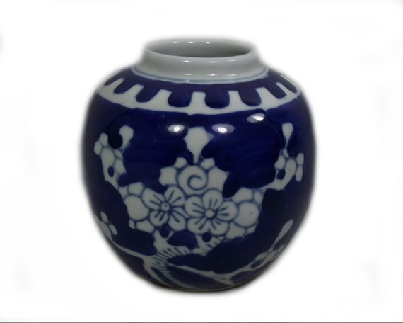 Vintage Chinese Blue and White Ginger Jar with Prunus Design