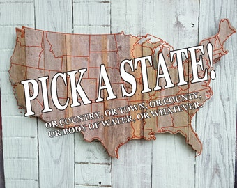 Your favorite state made of old fence wood, state decor state silhouette state sign