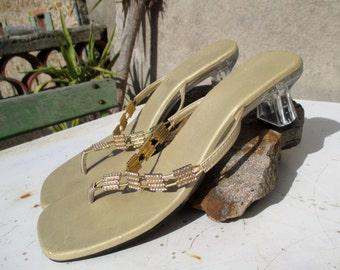 90s vintage rhinestone sandals / slip-ons, transparent acrylic / lucite heels, minimalist party summer sandals, UK 7, US 8 1/2, EU 40