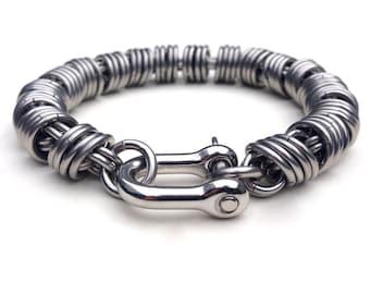 Unique mens bracelet etsy mens silver bracelet stainless steel mens bracelet coil chain unique mens jewelry aloadofball Gallery