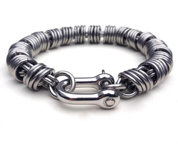 Mens Silver Bracelet Stainless Steel Mens Bracelet Coil