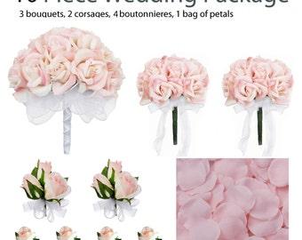 10 Piece Wedding Package - Silk Wedding Flowers - Bridal Bouquets - Pink Rose Wedding Bouquets