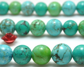 47 pcs of Mixed color Turquoise smooth round beads in 8 mm(06769#)