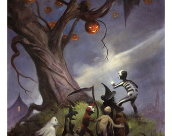 THE HALLOWEEN TREE Spooky Signed Art Print by Mike Von Hoffman
