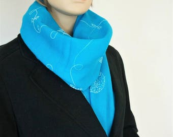 Wool Scarf Large Pashmina Scarf Vintage Embroidered Turquoise Wrap Head Scarf Shawl Wool