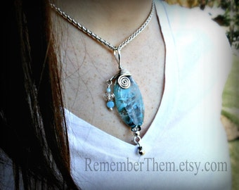 Lampwork Glass Cremains Bead in Argentium Streling Silver,  Memorial Necklace, Pet Cremation Jewelry, Custom Made