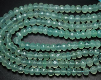 8 Inch Strand,Sea Green Aqua Chalcedony Micro Faceted Rondelled,7.5-8mm Approx