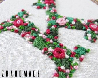 Monogram 'K' Hand Embroidery In 5 Inch Hoop | READY TO SHIP!