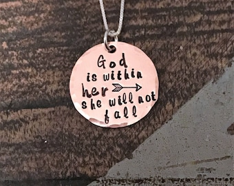 God Is Within Her She Will Not Fail Psalm 46:5 Bible Verse Necklace Scripture Necklace Hand Stamped Copper Necklace Christian Jewelry