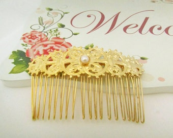 Wedding Pearl Hairpiece, Gold Pearl Bridal Hair Comb, Bridal Hair Accessories, Gold Floral Bridal Hair Comb,Vintage Style Comb,Woodland Comb
