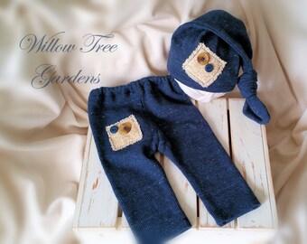 Newborn Boy Pants and Hat Set - Blue Newborn Outfit, Newborn Boy Photo Outfit, Baby Boy, Newborn Photo Prop
