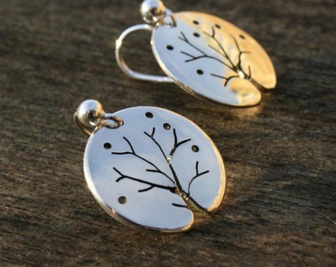 Silver Earrings, Handmade in Sterling Silver, Winter Tree Earrings, Jewellery, Jewelry