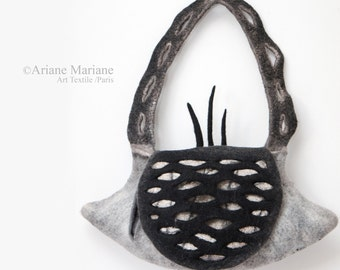 Art Bag Women, Sculptural Felt Handbag, Embroidered Felt Designer Bag Paris, Sustainable Green Design, Piece Unique, Gray Black