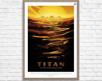 Space Poster, TITAN Saturn's largest moon, Titan, Space Travel, Nasa Space Poster, Space Travel, NASA Space Poster, Space Art, Nasa Art