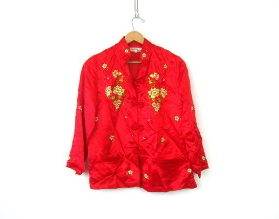 Red Asian Blouse Kimono style frog buttons Red SILK Pajama top Embroidered floral Long sleeve top Retro Ethnic blouse women's size 40