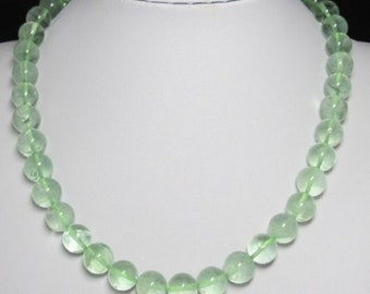 Light green Fluorite 12mm and 925 Silver 19 inch Necklace