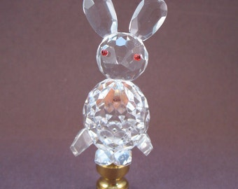Lamp Finial Crystal Clear Rabbit With Bright Red Eyes, Easter Bunny, Fine Crystal CR9