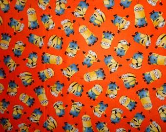 Orange Minion Toss Cotton Fabric by the Yard
