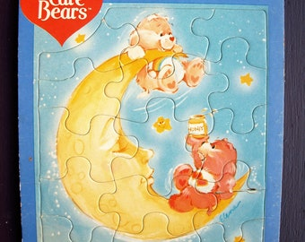 Vintage Care Bears 15 Piece Tray-Frame Puzzle Cloud Love-A-Lot & Cheer Bear 1983 – no. 44490