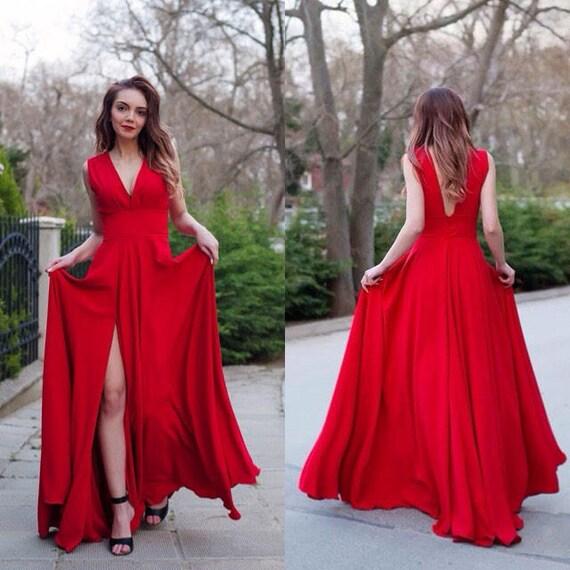 Rotes Kleid / Kleid / Prom Kleid / Frauen Kleid / Maxi Kleid