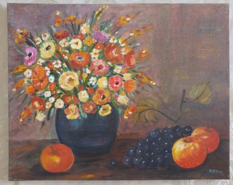 flowers in vase. oil painting on canvas.