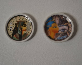 Miniature Vintage Egyptian magnetic; Collectors plate, set of 2.