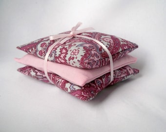 Set of 3 Lavender Bags, Scented Packs, Drawer Fresheners, Dried Lavender, Pink Paisley, Cotton Sachets