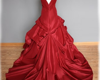 Red Wedding Dress Ball Gown, Silk Taffeta, Custom Made to Order in your size - Casey Style