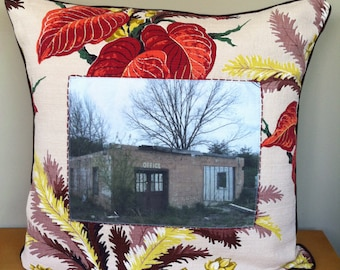 18x18 Handmade Vintage Bark Cloth Throw Pillow with Original Roadside Photograph