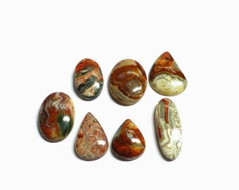 7 pcs , Crazy lace agates cabochons , high polishing , natural stone , flat back cabochon , code B2008