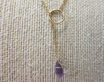 """ONE Solid 14K Yellow Gold Amethyst Necklace, """"Y"""" Necklace, Amethyst Briolette"""