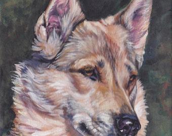 West Siberian Laika dog art portrait CANVAS print of LA Shepard painting 8x8