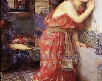 "John William Waterhouse ""Thisbe"" Pyramus Shakespeare Forbidden Love 1909 Reproduction Digital Print"