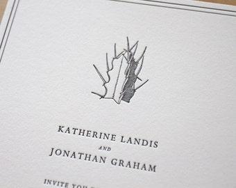 Letterpress Wedding Invitation - Desert Cactus  - elegant, tasteful, simple Letterpress Wedding Invitation