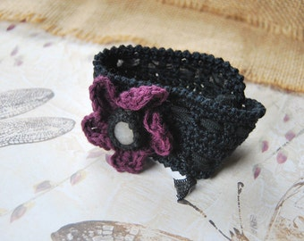Black Crochet Cuff / Bracelet / Bangle