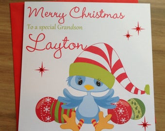 Handmade Personalised Cute Christmas Card Son/Nephew/Brother/Grandson +