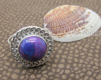 Purple Turquoise Ring, 925 Sterling Silver Ring, Gemstone Rings, Crystal Rings, Healing Rings
