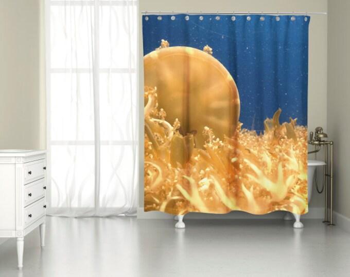 Underwater Sea Life Jellyfish Shower Curtain for Cool Marine Decor