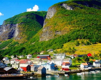 Travel Photography, Norway Print, Fjord, Fine Art, Nature Photography, Aurlandsfjord, Large Wall Art, Small Village, Mountains - Undredal