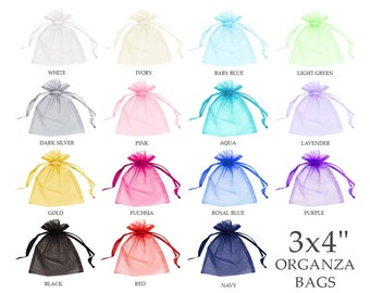 """Organza bags 3x4"""" (30) - Organza bags - Organza gift bags - Sheer bags - Small organza bags - Drawstring bag - Jewelry pouch"""