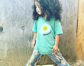 Eggsactly Egg Baby Toddler Kid T-Shirt - Heather Green Organic Triblend ON SALE