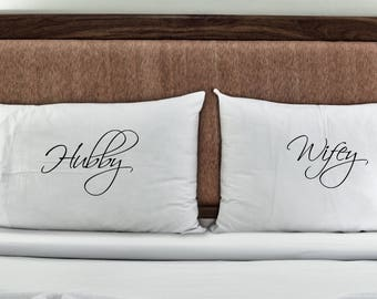Hubby and Wifey Pillowcase Set