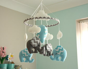 Blue Baby Boy Mobile / Nursery  Elephant Hot Air Balloon Mobile / Felt Mobiles / MADE TO ORDER