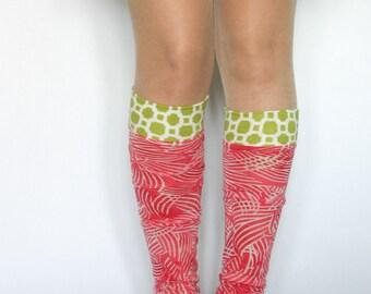 Leg warmers hand made Montréal Québec / green and pink motif / dance accessory / womens / girls leg warmers / knee high /DominiqueJuliette