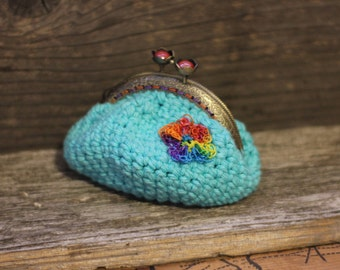 Crocheted Coin Purse with Kiss Me Clasp