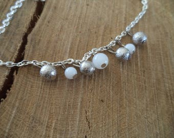 Fine silver with white and silver beads bracelet